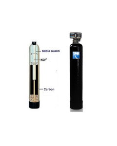 "Whole House Water Filtration System + KDF 55 | 10""x 54"" Tank - 1.5 Cubic ft. of Coconut Shell Carbon (GAC)"