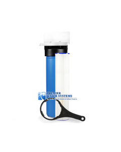 "20"" Big Blue Water Filter Housing/Canister 1"" NPT w/ Pressure Release + Sediment Filter (4.5"" x 20"")"