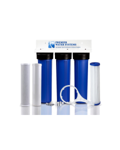 """3-Stage 20"""" Whole House Triple Big Blue Water Filtration System 1"""" FPNT Inlets w/Sediment, Carbon Block, and GAC Filters"""
