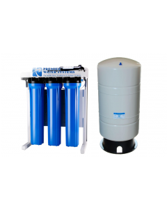 "Premier Light Commercial 800 GPD - 20"" Reverse Osmosis Water Filtration System + Booster Pump + 40 Gallon Water Storage Tank"