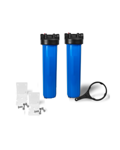 "Dual Big Blue Water Filter Housing 4.5"" x 20"" - 1"" with Pressure Release + Bracket and Wrench"