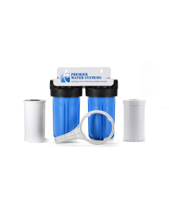 "Whole House 10"" Big Blue Water Filter System + Filters (Sediment, KDF 55 + Carbon)"