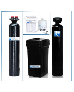 Whole House Package: Fleck Water Softener 32,000 Grain + Upflow Carbon Filtration + Drinking Water RO System