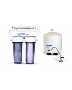 4 Stage: Complete Home Reverse Osmosis Drinking Water Filtration System 75 GPD - Clear