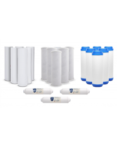 Pack of 21: Replacement Filters for Reverse Osmosis Water Filtration Systems - Sediment, Carbon, GAC, Inline