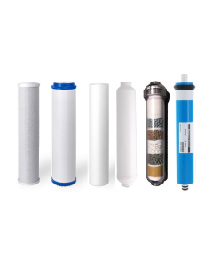 Replacement Water Filter Set for 6 Stage Alkaline Reverse Osmosis Filtration Systems: 50 GPD RO Membrane + Alkaline Filter