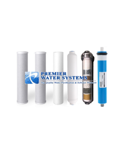 Replacement Water Filter Set for 6 Stage Alkaline Reverse Osmosis Filtration Systems: 100 GPD RO Membrane + Alkaline Filter - CB