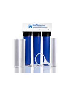 """Triple Standard Slim Whole House Water Filtration System with KDF 55 Filter (3-Stage, 2.5"""" x 20"""")- Chlorine Removal"""