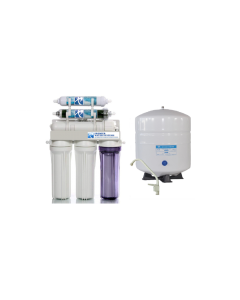 Low Pressure System - 6 Stage Dual Outlet Use (Drinking & 0 PPM Aquarium Reef/Deionization) Reverse Osmosis Water System (RO/DI) + Tank