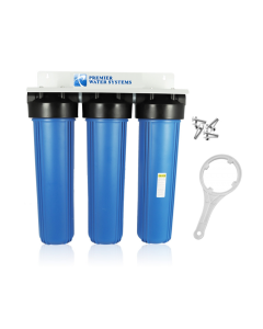 "TRIPLE BIG BLUE HOUSING 20"" WATER FILTER SYSTEM 1"" WITH BRACKET + WRENCH"