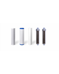 """Standard Replacement Water Pre-filters for 10"""" Housing: Sediment, Carbon Block, GAC + 2 DI Resin Inline Filters"""